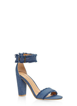 Frayed Ankle Strap High Heel Sandals - BLUE - 3111014067267