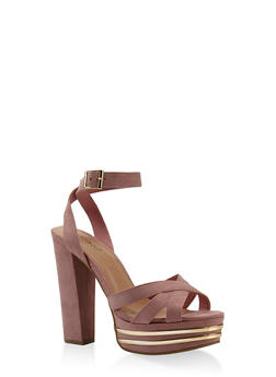 Criss Cross Strap High Heel Platform Sandals - BLUSH - 3111014068682
