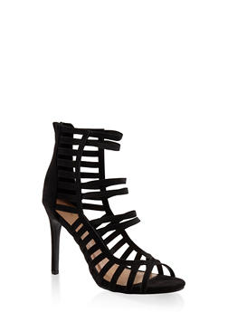 Caged High Heel Sandals - BLACK - 3111014068780