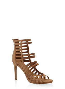 Caged High Heel Sandals - TAN - 3111014068780