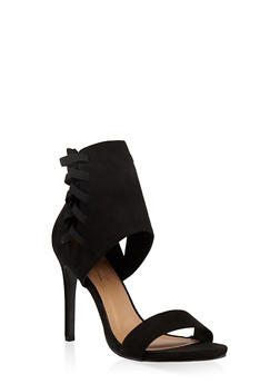 Lace Up Side High Heel Sandals - BLACK - 3111014068781