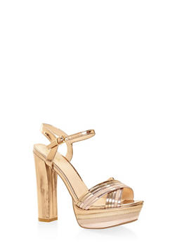 Metallic Ankle Strap Platform Sandals - BRONZE - 3111029912323