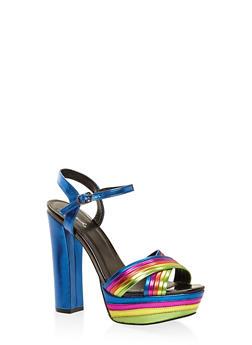 Metallic Ankle Strap Platform Sandals - 3111029912323