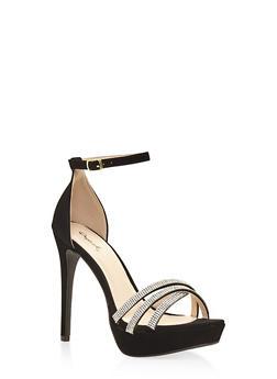 Rhinestone Criss Cross Strappy High Heel Sandals - 3111029912821