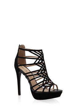 Laser Cut High Heel Platform Sandals - 3111029912822