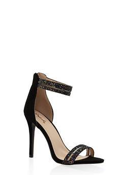 Glitter Shadow Stripe High Heel Sandals - BLACK - 3111029913394