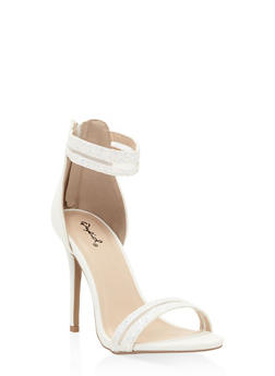 Glitter Shadow Stripe High Heel Sandals - WHITE - 3111029913394