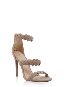 Twisted Strap High Heel Sandals - TAUPE - 3111029913484