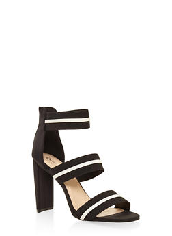 Elastic Band High Heel Sandals - BLACK - 3111029913574