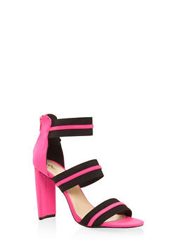 Elastic Band High Heel Sandals - FUCHSIA - 3111029913574