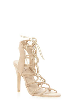 Faux Suede Lace Up High Heel Sandal - 3111029914277