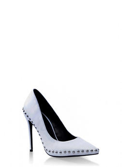 Studded Pointed Toe Stiletto - WHITE - 3111053874867