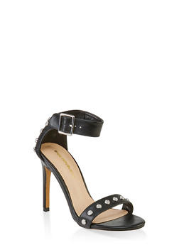 Studded Ankle Strap High Heel Sandals - 3111062862236