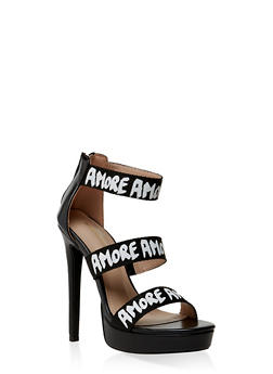 Amore 3 Band High Heel Sandals - BLACK - 3111062862668