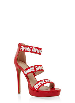 Amore 3 Band High Heel Sandals - RED - 3111062862668