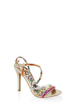 Sequin High Heel Sandals - GOLD - 3111062865466