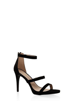 3 Strap High Heel Sandals - BLACK - 3111062866274