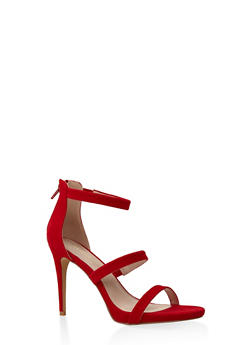 3 Strap High Heel Sandals - RED - 3111062866274