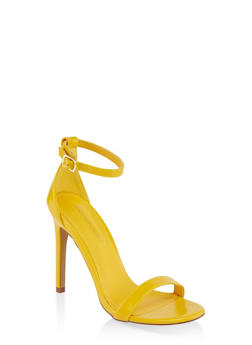 High Heel Ankle Strap Sandals - YELLOW - 3111062867284