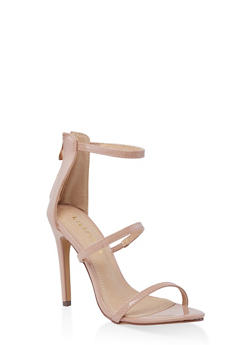 Three Band High Heel Sandals - NUDE - 3111065464653