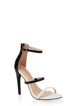 Triple Skinny Strap High Heel Sandals - BLACK - 3111065464654