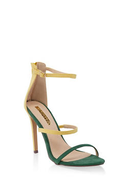 Triple Skinny Strap High Heel Sandals - YELLOW - 3111065464654