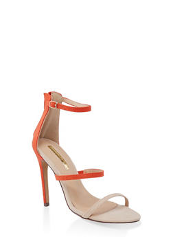 Triple Skinny Strap High Heel Sandals - ORANGE - 3111065464654