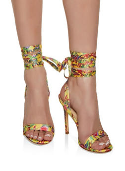 Ankle Wrap High Heeled Sandals - YELLOW - 3111065466378