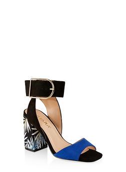 596157d9092 Leaf Print Block Heel Sandals - 3111065466653