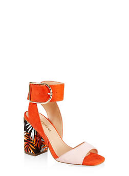 Leaf Print Block Heel Sandals - ORANGE - 3111065466653