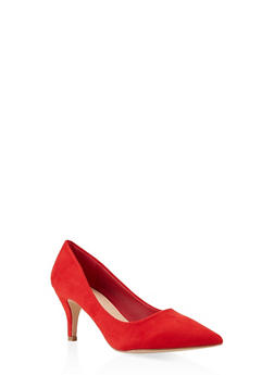Pointed Toe Mid Heel Pumps - RED - 3111068266353