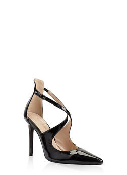 Criss Cross Strap Pumps - BLACK PATENT - 3111068267747