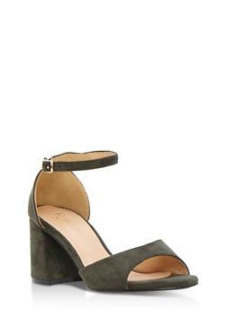 Faux Suede Open Toe Block Heel Sandals - 3111068752274