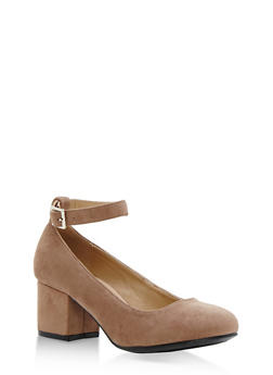 Faux Suede Mary Jane Block Heels - 3111070406283