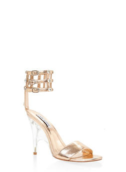 Rhinestone Caged High Heel Sandals - BRONZE - 3111070965664
