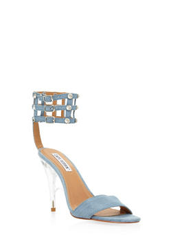 Rhinestone Caged High Heel Sandals - DENIM - 3111070965664