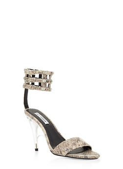 Rhinestone Caged High Heel Sandals - BLACK MULTI - 3111070965664