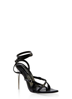 Buckle Detail Wrap Around High Heel Sandals - 3111070966338