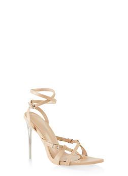 Buckle Detail Wrap Around High Heel Sandals - NUDE - 3111070966338