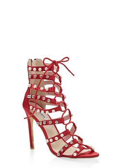 Studded Lace Up High Heel Sandals - WINE - 3111070966344