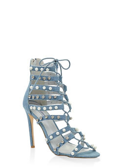 Studded Lace Up High Heel Sandals - DENIM - 3111070966344