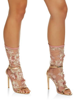 Embroidered Mesh High Heel Booties - BRONZE - 3111070967899