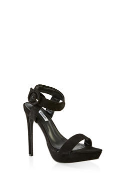 Ankle Strap Buckle Platform Sandals - BLACK - 3111070969296