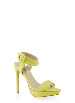 Ankle Strap Buckle Platform Sandals - YELLOW - 3111070969296