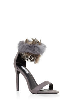 Faux Fur Feather Strap High Heel Sandals - GRAY - 3111070969855