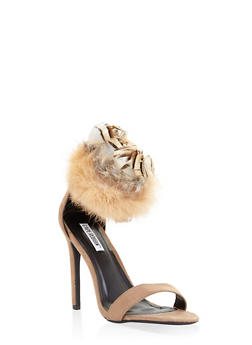 Faux Fur Feather Strap High Heel Sandals - NUDE - 3111070969855