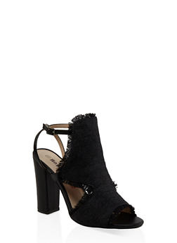 Frayed Cut Out High Heel Sandals - BLACK - 3111073112530