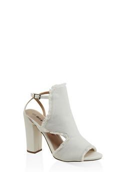 Frayed Cut Out High Heel Sandals - 3111073112530