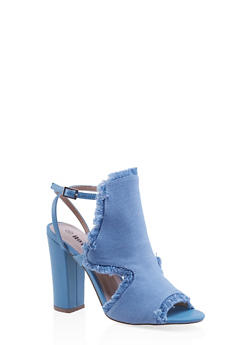 Frayed Cut Out High Heel Sandals - DENIM - 3111073112530
