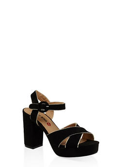 Criss Cross Block Heel Platform Sandals - BLACK - 3111073112540